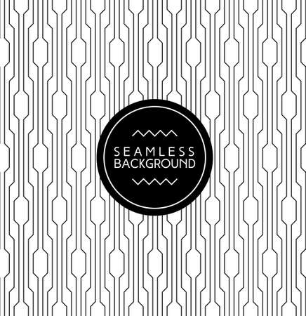 monochrome seamless art deco arabic black and white wallpaper or background with hipster label or badge Illustration