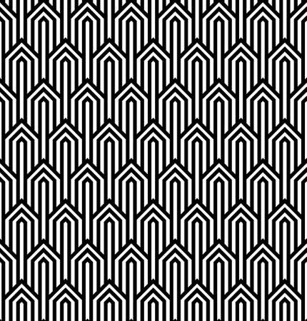 black lines: Vector modern tiles pattern. Abstract op art seamless monochrome background or wallpaper
