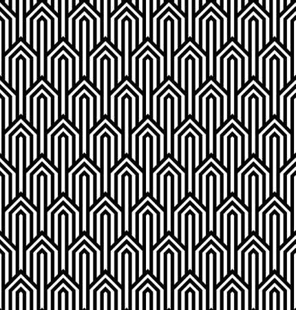 Vector modern tiles pattern. Abstract op art seamless monochrome background or wallpaper