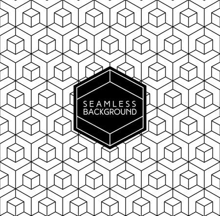 crest: art deco monochrome seamless arabic black and white wallpaper or background with hipster label or badge Illustration