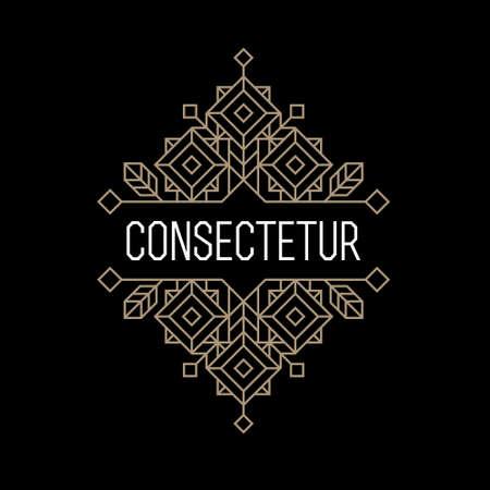 古美術品: 高級アンティーク アールデコ白黒金ヒップスター最小限の幾何学的なビンテージ線形ベクトル フレーム、枠、ロゴ、バッジまたはクラブ、バー、カフェ、レストラン、ホテル、ブティックのためのクレスト ラベル