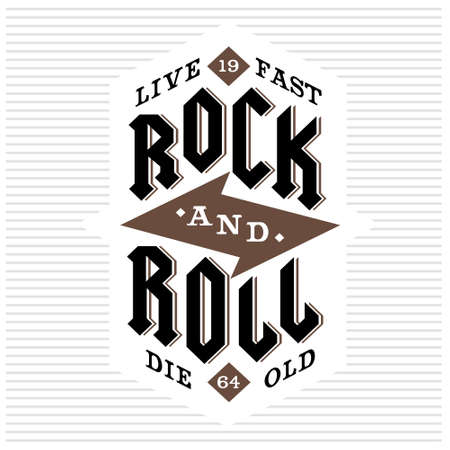 """빈티지 흑백 벡터 hipster의 복고풍 무늬, 배지, 라벨, 로고 """"바위와 롤, 빨리 살 된 다이""""레터링, 번개와 포스터, 플래이어 또는 T 셔츠 인쇄에 대 일러스트"""
