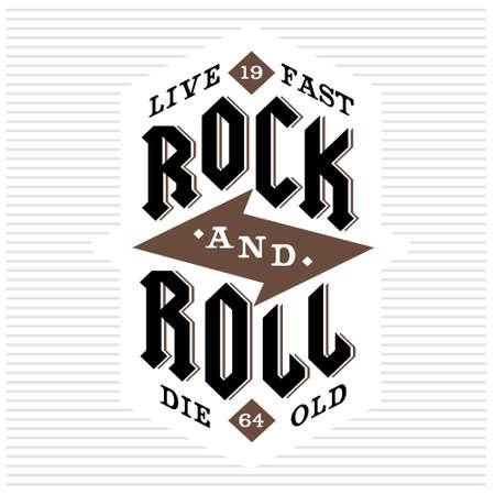 """vintage monochrome vector hipster retro kam, kenteken, etiket, logo """"rock en roll, leef snel sterven oude"""" voor poster, flayer of t-shirt druk met het van letters, bliksem Stock Illustratie"""