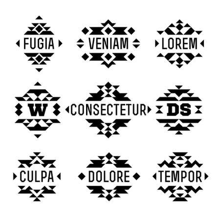 Establecer azteca nativa étnica abstracta monocromática inconformista mínima vector marco geométrico, frontera, etiqueta, logotipo, monograma o cresta para el aviador, cartel, tatuaje o una camiseta de impresión Foto de archivo - 45353268