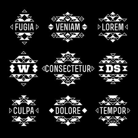 art logo: set vector abstract aztec native ethnic monochrome  hipster minimal geometric frame, border, label, logo, badge, monogram or crest for flyer, poster, tattoo or t-shirt print