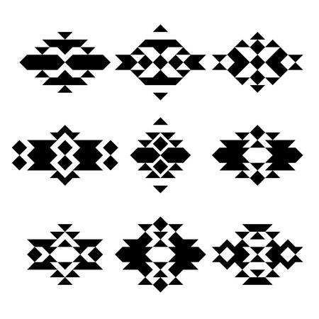 set aztec navajo native ethnic abstract monochrome  hipster minimal geometric vector pattern for logo, flyer, poster, tattoo or t-shirt print
