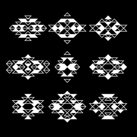 set vector navajo aztec native ethnic abstract monochrome hipster minimal geometric pattern for logo, flyer, poster, tattoo or t-shirt print