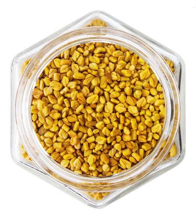 fenugreek: Organic fenugreek seeds in glass bottle