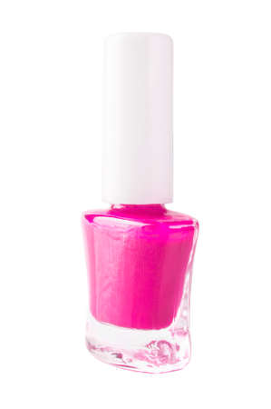 nail polish bottle: Pink nail polish bottle on white background