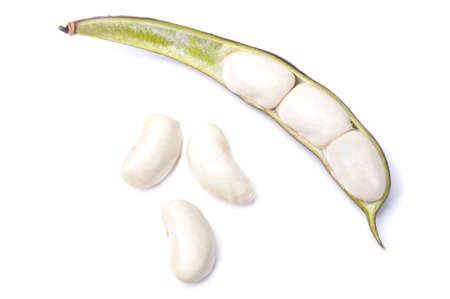 snap bean: Purple Wax Beans on the white background