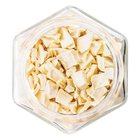 celery root: celery root dried in a glass isolated on white background Stock Photo