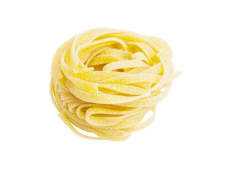 medium: Egg pasta nest isolated on white background