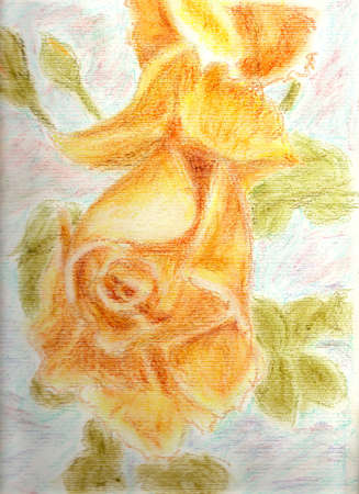 Rose hand made flowers whit oil pastels yellow whit green sleves