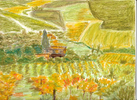 Tuscan landscape hand made whit oil pastels