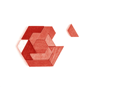 A hexagon tangram puzzle in Living Coral - color of year 2019. Isolated on white.