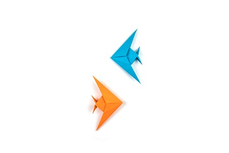Two origami fishes isolated on white background. Leadership and business concept. Stock Photo