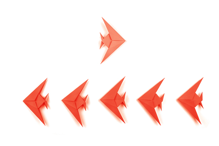 Paper origami Coral fishes isolated on white background. Leadership, business and Color of 2019 year concept.