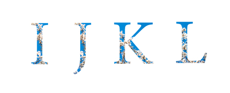 Flower font Alphabet i, j,k,l made of spring blossoming trees outdoor.