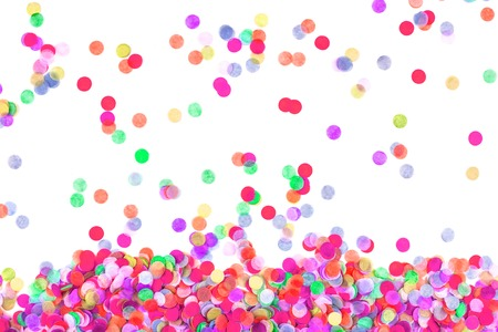 Bright multicolored confetti isolated on a white background. Festive concept. Childrens party, birthday, wedding, celebration. Top view. Copy space. Imagens - 124894841