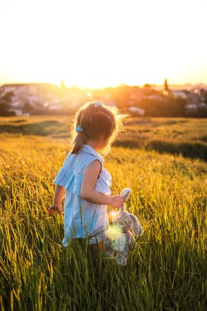 Happy little girl in the summer field at sunset. She holding her favourite toy in the hand and smiling.