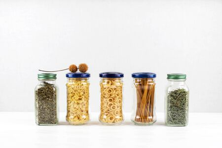 Pasta and spices in glass jars. Zero waste concept., simple life style.