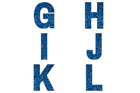 Blue font Alphabet g, h, i, j, k ,l made of blue sparkle background. Festive alphabet.