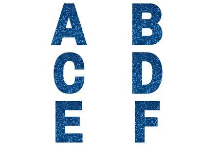 Blue font Alphabet a, b, c, d, e, f made of blue sparkle background. Festive alphabet.