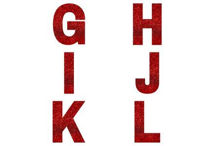 Red font Alphabet g, h, i, j, k, l made of red sparkle background. Festive alphabet.