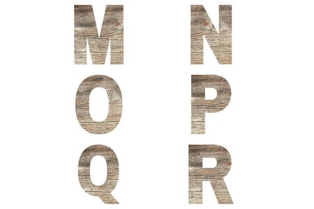 Font wood alphabet m, n, o, p, r, q isolated on white background. Nature concept.