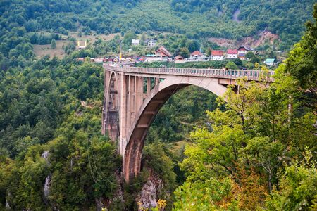 Durdevica Tara arc bridge in the mountains of Montenegro. One of the highest automobile bridges in Europe.
