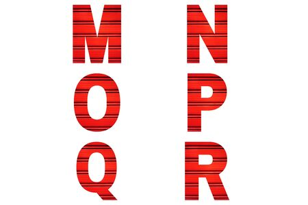 Red font Alphabet m, n, o, p, q, r made of red painted shutter or roller blind. Bright alphabet. Banco de Imagens