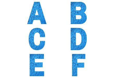 Font Alphabet a, b, c, d, e, f made of trendy blue color house front. Stock fotó