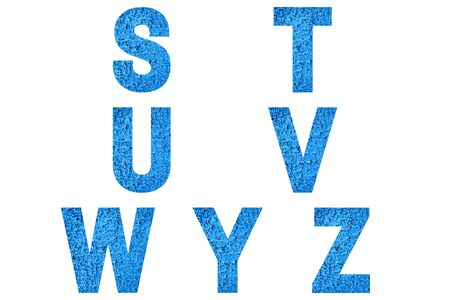 Font Alphabet s, t, u, v, w, y, z made of trendy blue color house front. Stock fotó - 138252085