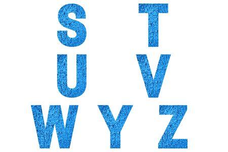 Font Alphabet s, t, u, v, w, y, z made of trendy blue color house front.