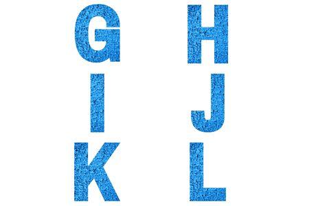Font Alphabet g, h, i, j, k, l made of trendy blue color house front.