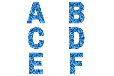Confetti font Alphabet a, b, c, d, e, f made of blue confetti background. Festive Alphabet.