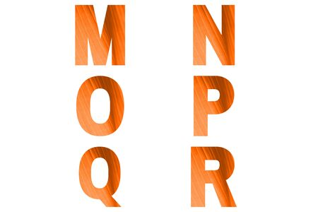 Turmeric font Alphabet m, n, o,p, q, r made of natural bananas leaf background.