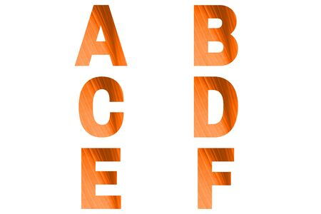 Turmeric font Alphabet a, b, c, d, e, f made of turmeric bananas leaf background.