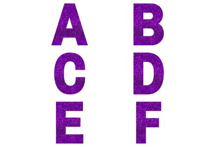 Violet font Alphabet a, b, c, d, e, f made of violet sparkle background. Festive alphabet. Stock fotó