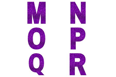 Violet font Alphabet m, n, o, p, q, r made of violet sparkle background. Festive alphabet.