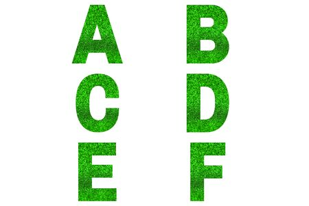 Green font Alphabet a, b, c, d, e, f made of green sparkle background. Festive alphabet.