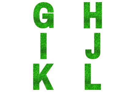 Green font Alphabet g, h, i, j, k, l made of green sparkle background. Festive alphabet.
