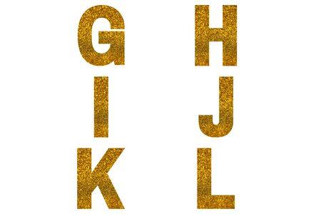 Golden font Alphabet g, h, i, j, k, l made of golden sparkle background. Festive alphabet.