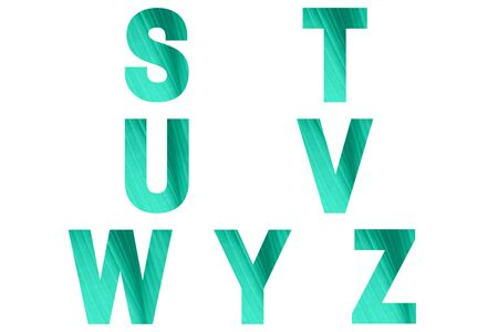 Green font Alphabet s, t, u, v, w, y, z made of natural bananas leaf background. Stock fotó