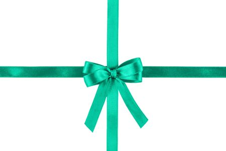 Mint silk ribbon isolated on white background. Festive concept. Flat lay.