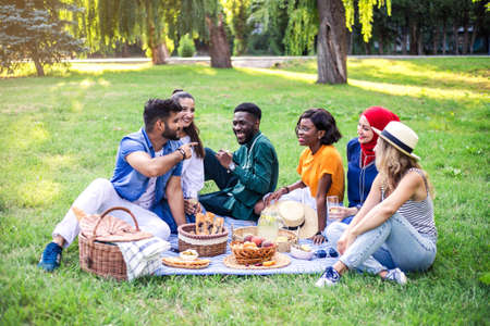 Best multiracial friends are on picnic in the park have fun together.