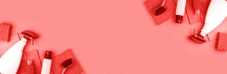 Banner made from house cleaning products are on red background. Cleaning concept.