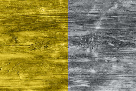 Textured old grunge wooden gray and yellow background. Copy space. Retro style. Imagens
