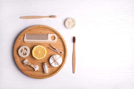 Set of eco natural bathroom accessories and cosmetics on white background. Zero waste concept. Plastic free. Flat lay style.