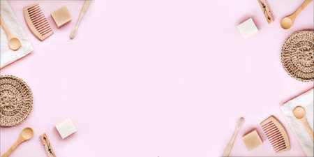 Banner of zero waste set for bathing on light pink background. Flat lay style, copy space. Imagens